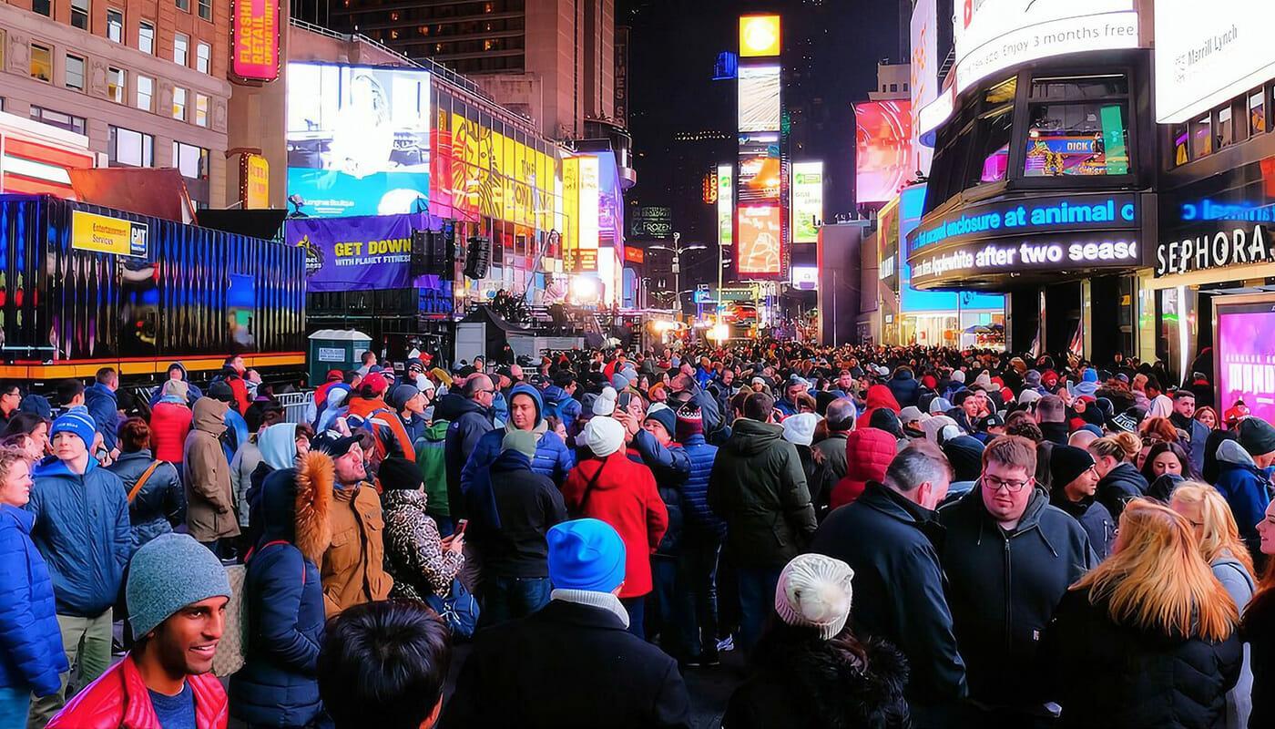 Nytårsaften i New York - Mange mennesker på Times Square