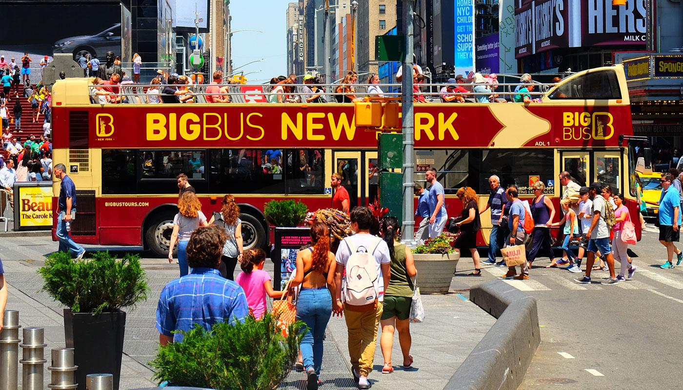 Big Bus i New York - Kryds ved Times Square