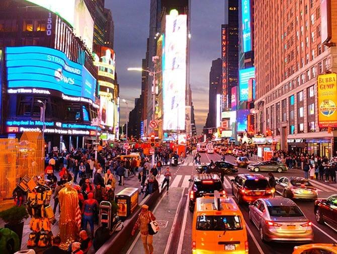 Big Bus i New York - Times Square om aftenen