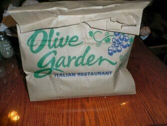 Doggy bag i New York - Olive Garden