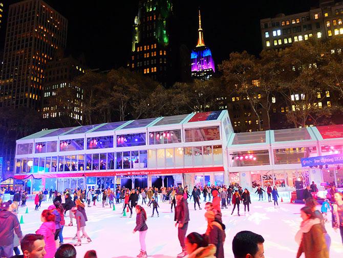 Juletid i New York - Skøjtebane i Bryant Park