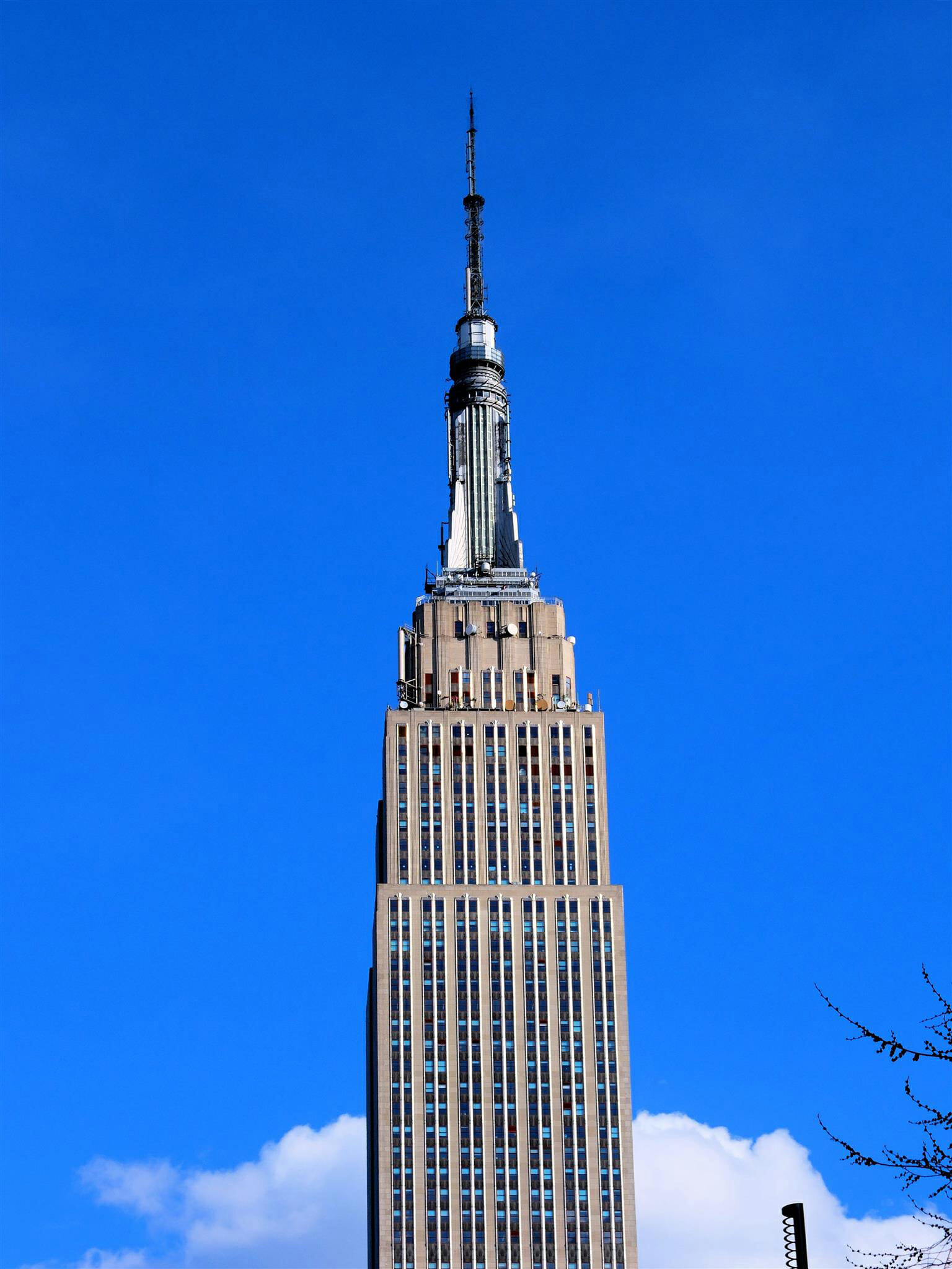 Empire State Building Blue Skies High Quality Wallpaper