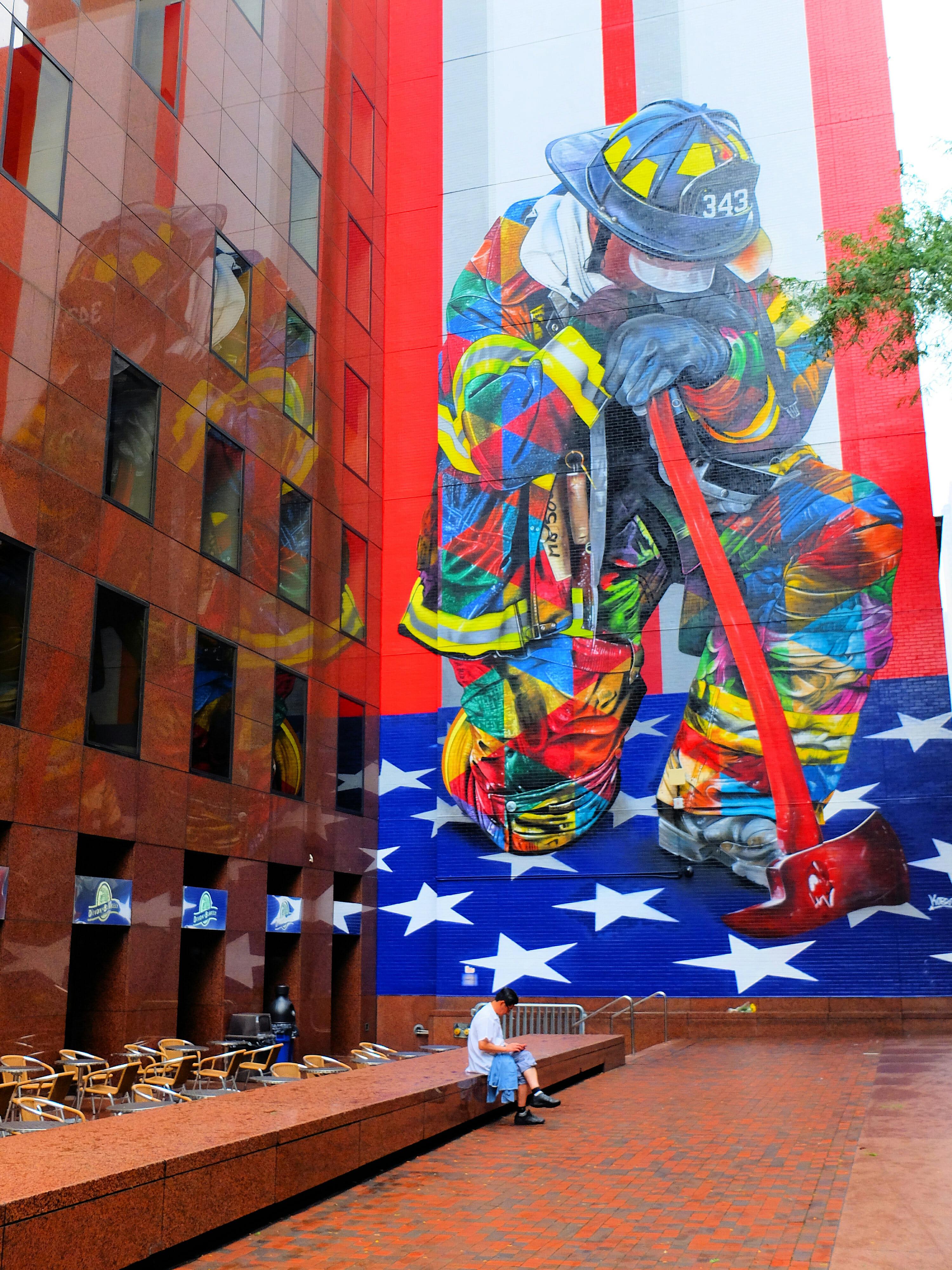 Firefighter Street Art by Eduardo Kobra in New York High Quality Wallpaper
