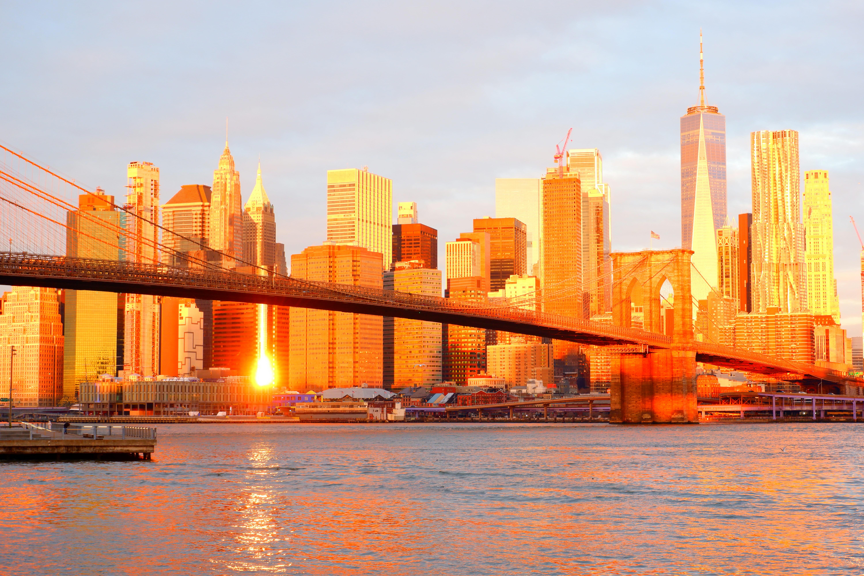 New York City Sunset Skyline High Quality Wallpaper