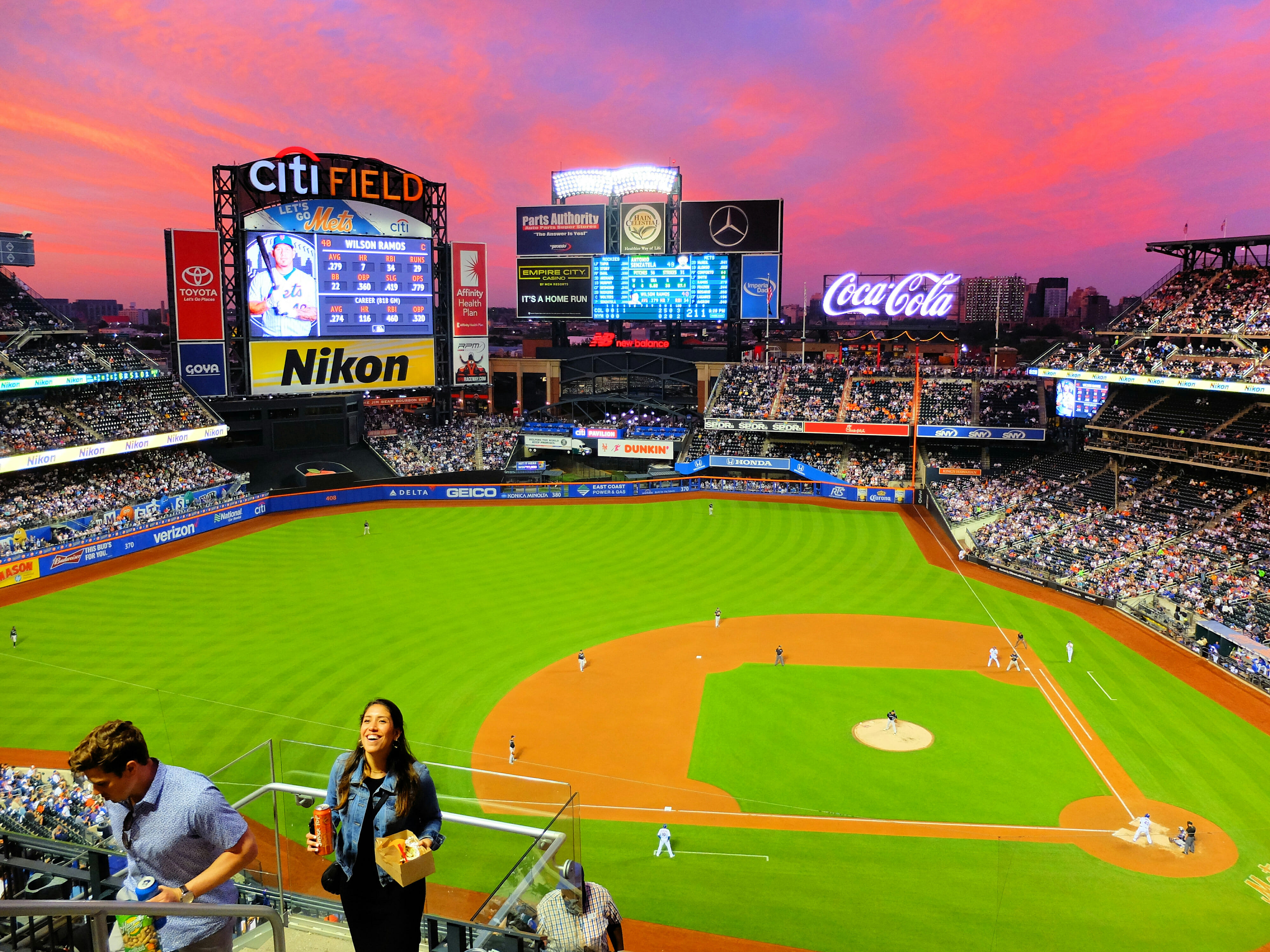 New York Mets Baseball Game at Sunset High Quality Wallpaper