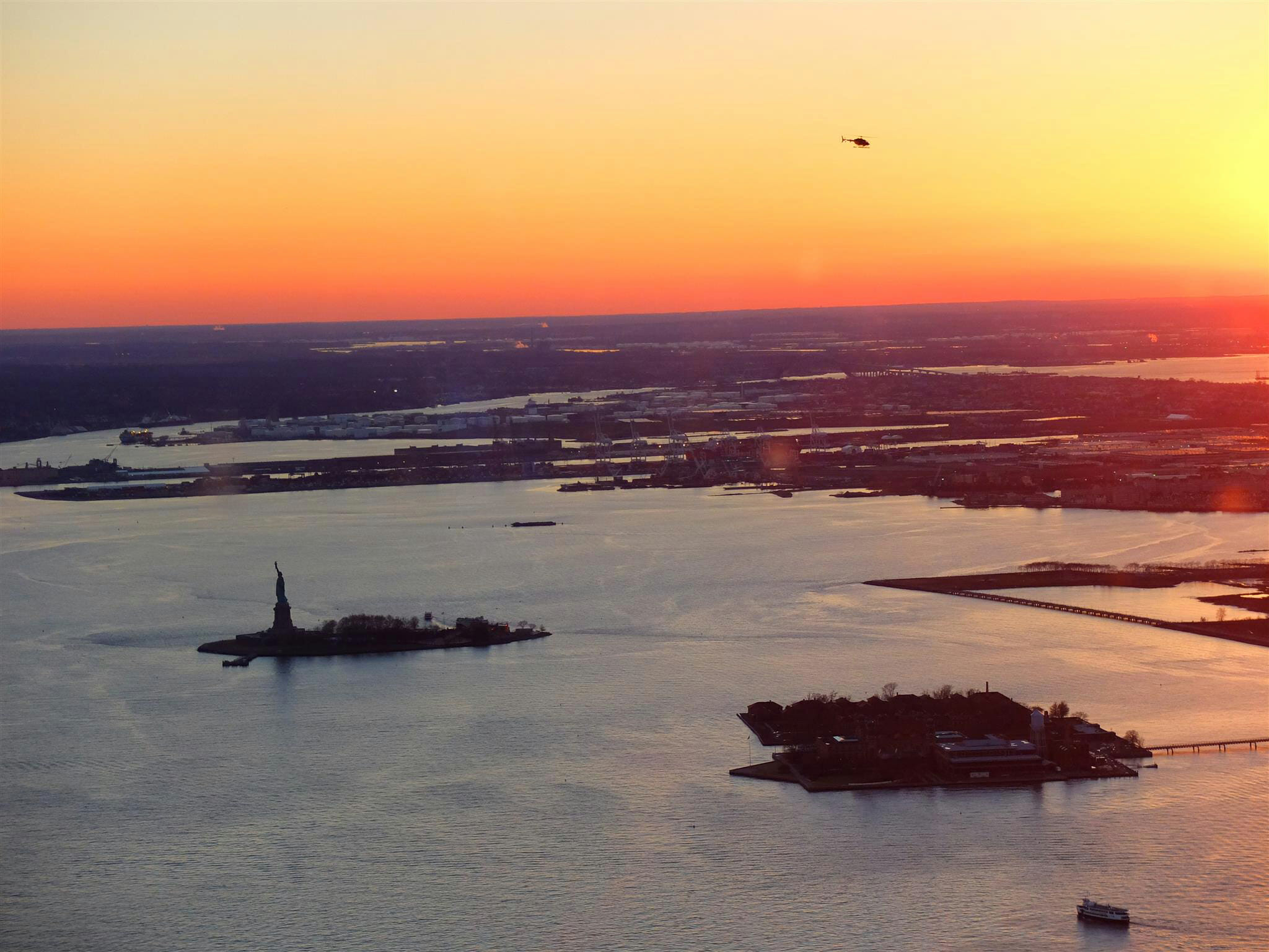 View of Statue of Liberty Sunset High Quality Wallpaper